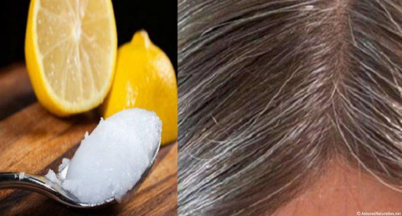 Mélange d'huile de coco et de jus de citron, pour permettre aux cheveux gris de retrouver leur couleur habituelle !
