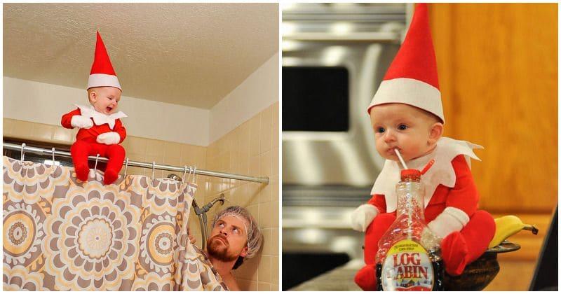 """""""Le lutin sur l'étagère"""" adorablement mis en scène par ce papa et son bébé"""