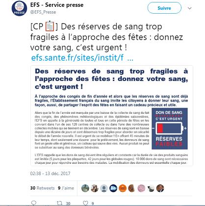 Don de sang : l'Etablissement français du sang (EFS) tire la sonnette