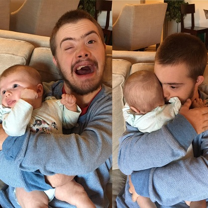 Atteint de trisomie 21, il tient un enfant dans ses bras pour la première fois !