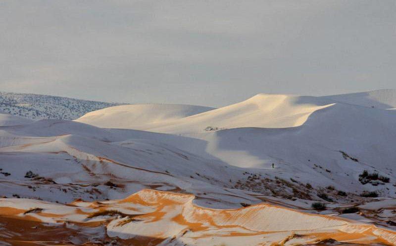 Exceptionnel : La neige est tombée au Sahara et a recouvert les dunes du désert