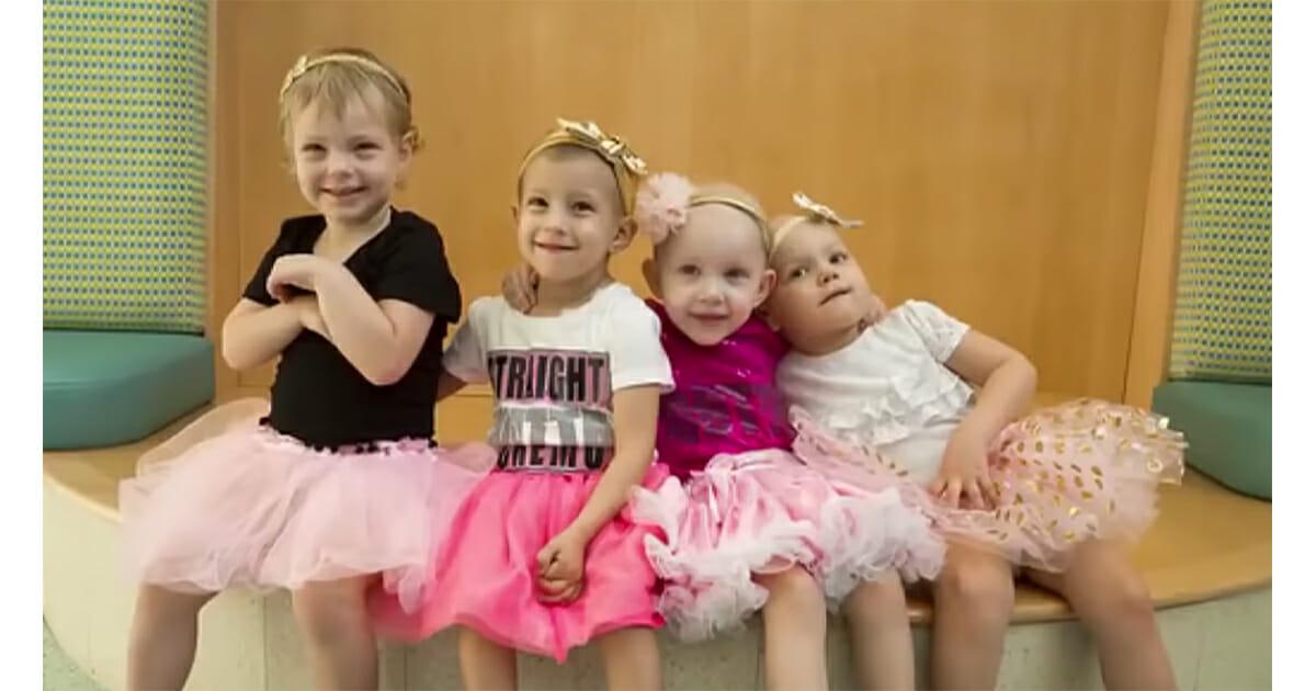 Quatre fillettes réunies après avoir vaincu le cancer dans le même hôpital