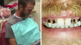 Un père embarrassé de son sourire va chez le dentiste. Deux heures plus tard il regarde dans le miroir et éclate en sanglots