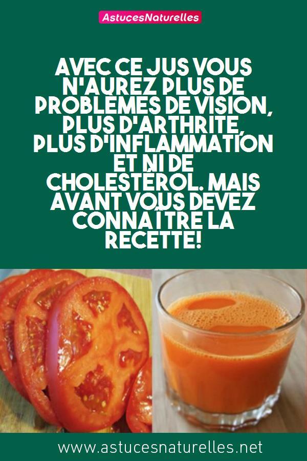 Avec ce jus vous n'aurez plus de problèmes de vision, plus d'arthrite, plus d'inflammation et ni de cholestérol. Mais avant vous devez connaître la recette!