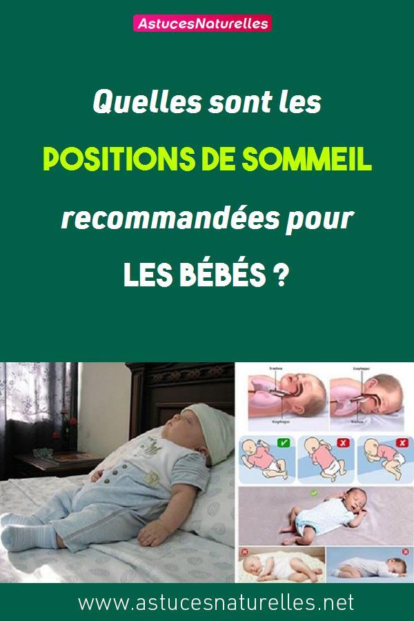 Quelles sont les positions de sommeil recommandées pour les bébés ?