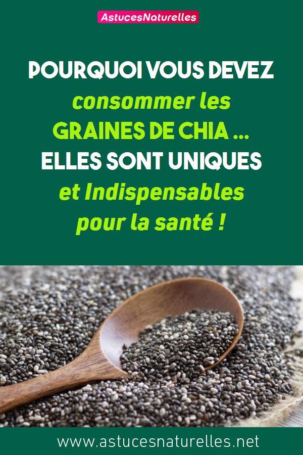 Pourquoi vous devez consommer les graines de Chia … Elles sont Uniques et Indispensables pour la santé !
