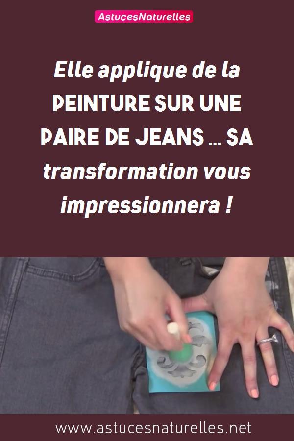 Elle applique de la peinture sur une paire de jeans … Sa transformation vous impressionnera !