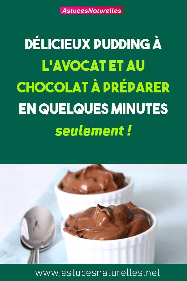 Délicieux pudding à l'avocat et au chocolat à préparer en quelques minutes seulement !