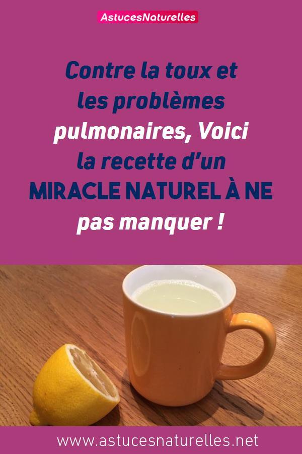 Contre la toux et les problèmes pulmonaires, Voici la recette d'un miracle naturel à ne pas manquer !