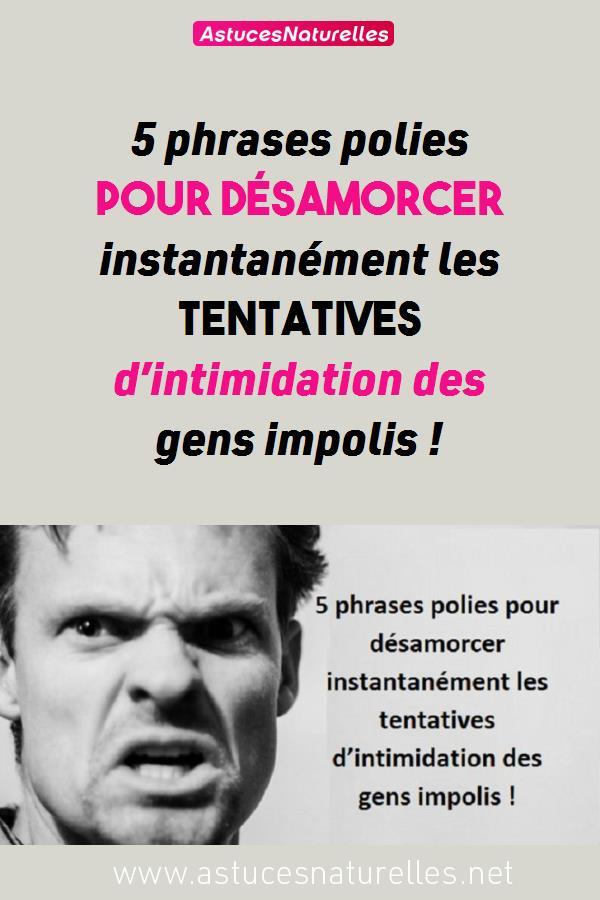 5 phrases polies pour désamorcer instantanément les tentatives d'intimidation des gens impolis !
