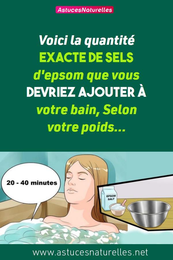 Voici la quantité EXACTE de sels d'epsom que vous devriez ajouter à votre bain, Selon votre poids…