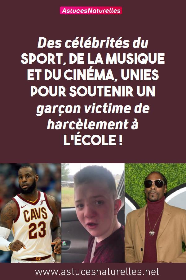 Des célébrités du sport, de la musique et du cinéma, unies pour soutenir un garçon victime de harcèlement à l'école !