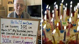 Il demande 101.000 J'aime après l'annulation de 101e fête d'anniversaire à cause du coronavirus