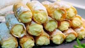 Recette de délicieux cigares à la crème pâtissière, sans sucre, sans lait, sans gluten et qui rend fou les gourmands